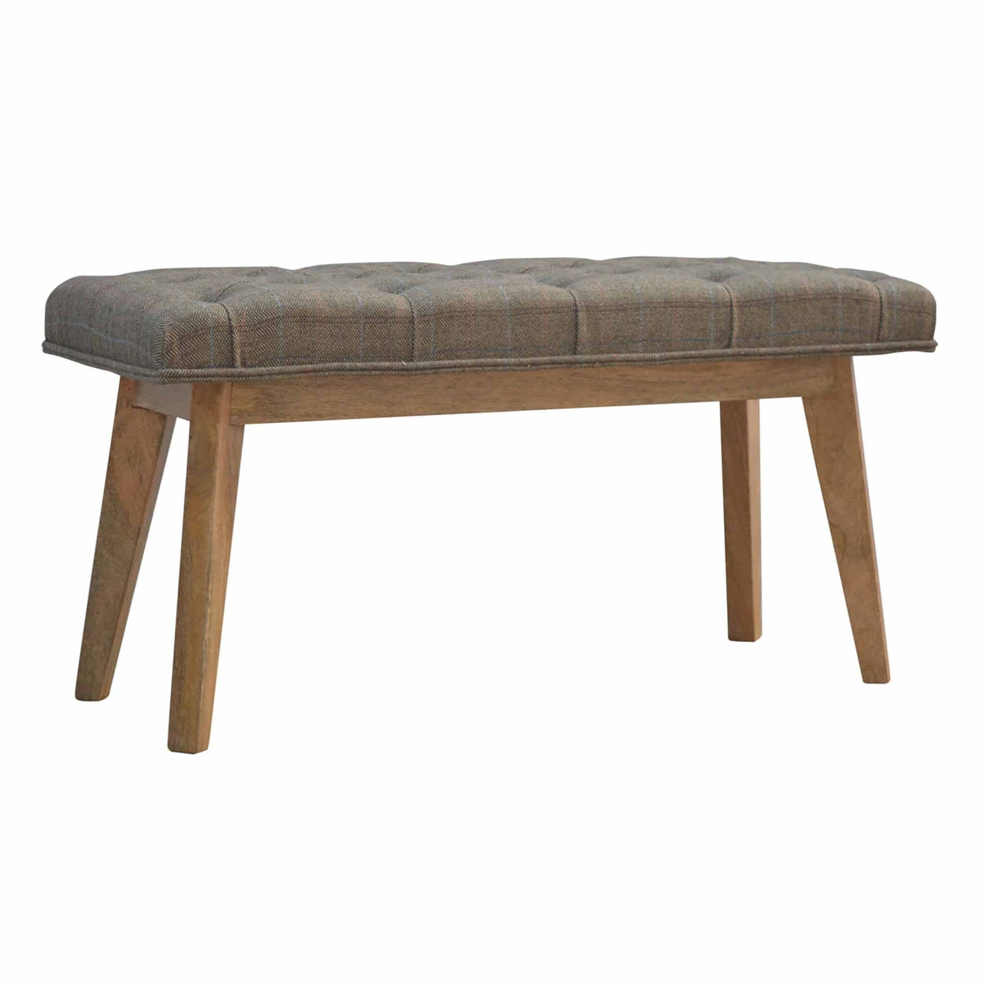 The Artisan Wooden Bench Upholstered in Tweed from Roseland Furniture