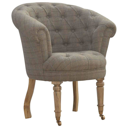 Artisan Deep Buttoned Tub Armchair in Tweed by Roseland furniture