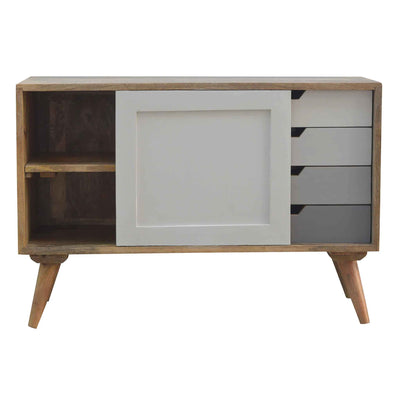 Open sliding door view of The Scandinavian Nordic Wooden Cabinet with 4 drawers