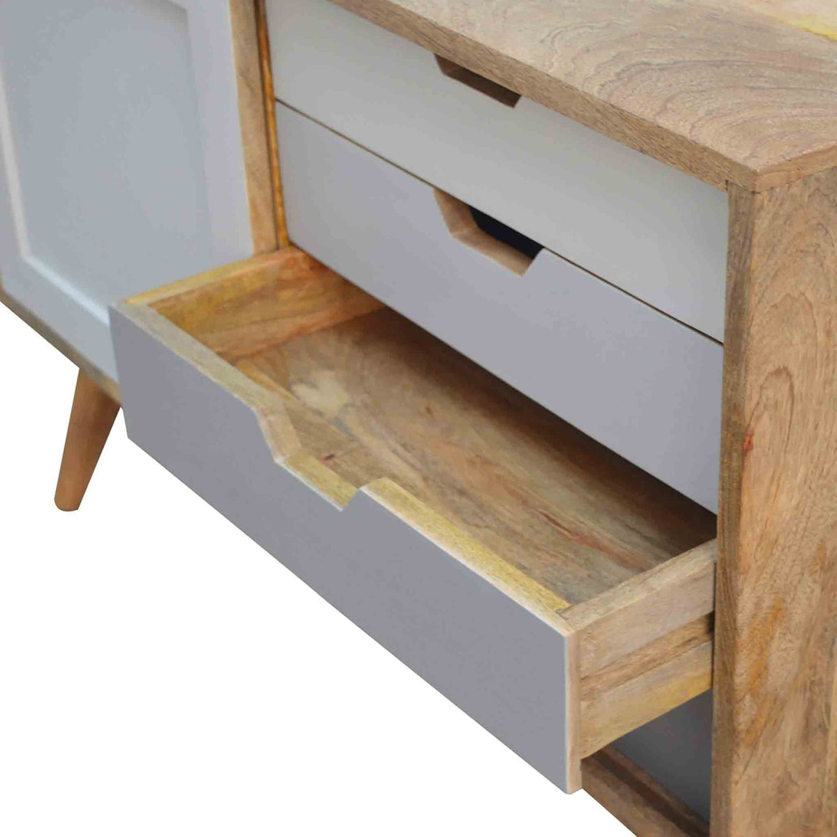 Close up of open drawer on The Scandinavian Nordic Wooden Cabinet with Sliding Door