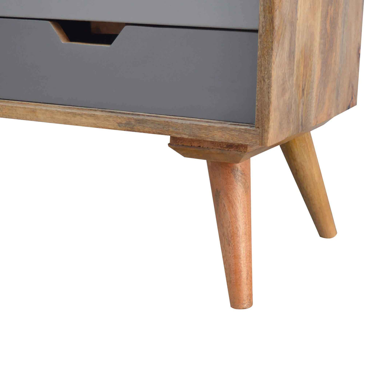 Close up of legs on The Scandinavian Nordic Wooden Cabinet with Sliding Door