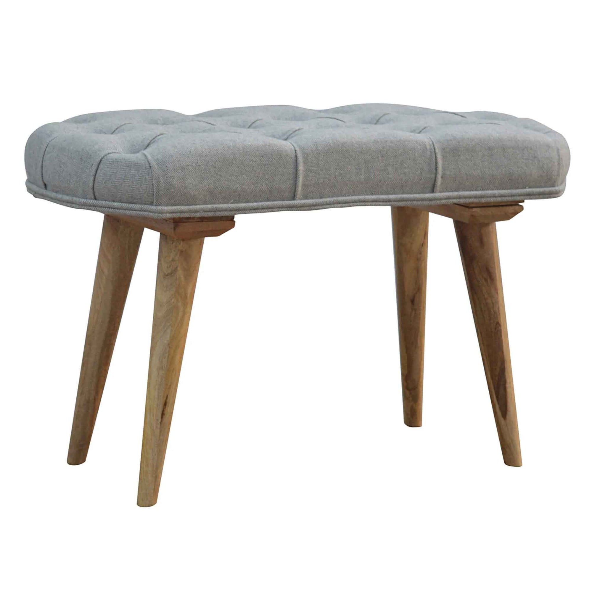 The Artisan Scandinavian Deep Buttoned Grey Upholstered Tweed Seat from Roseland Furniture