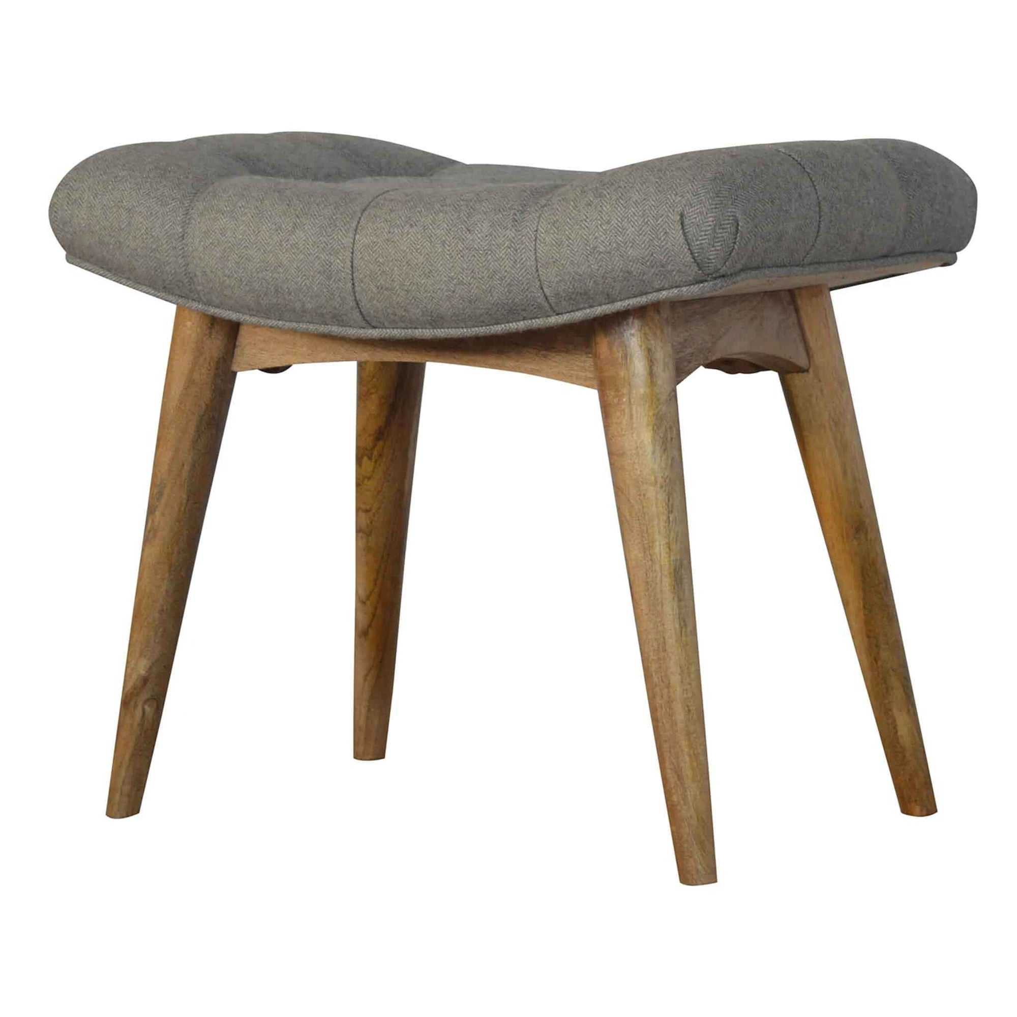The Artisan Upholstered Grey Curved Tweed Wooden Bench from Roseland Furniture