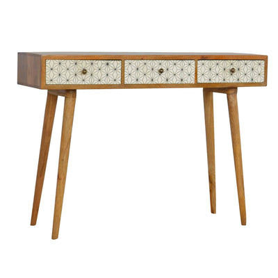 Artisan Retro Geometric Screen-Printed Writing Desk Console Table by Roseland Furniture