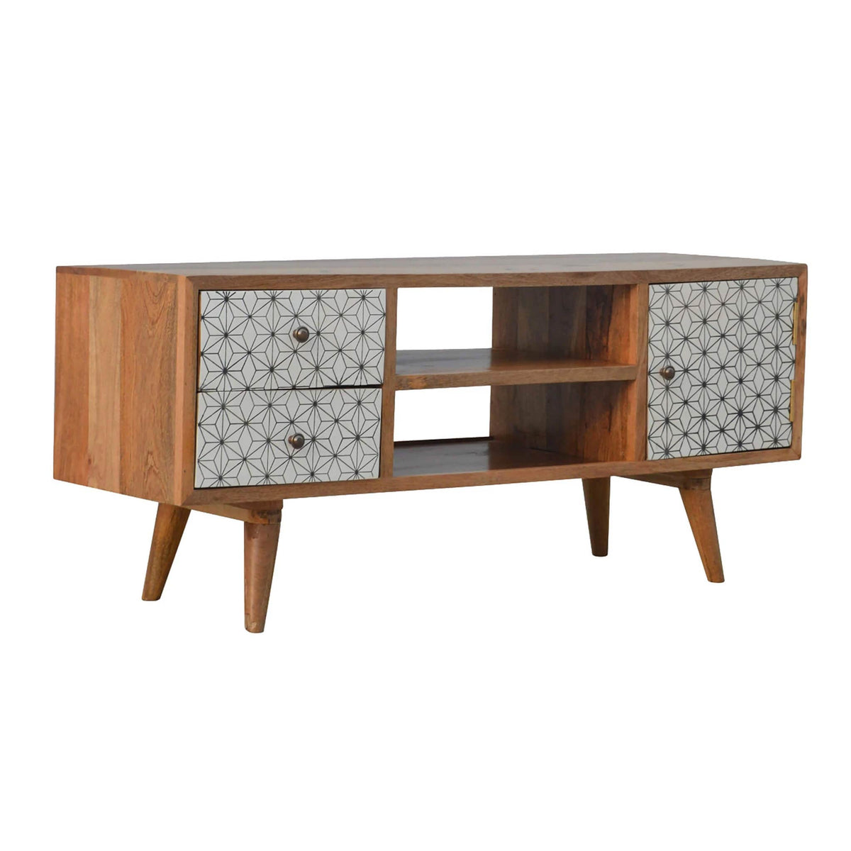 Artisan 2 Drawer Geometric Screen Printed Media TV Unit by Roseland Furniture