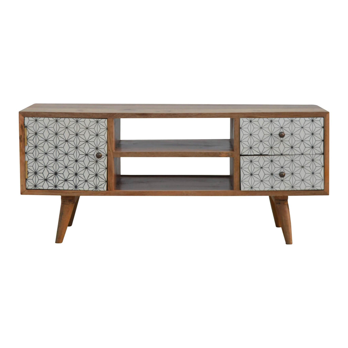 Artisan 2 Drawer Geometric Screen Printed Media TV Unit - front view