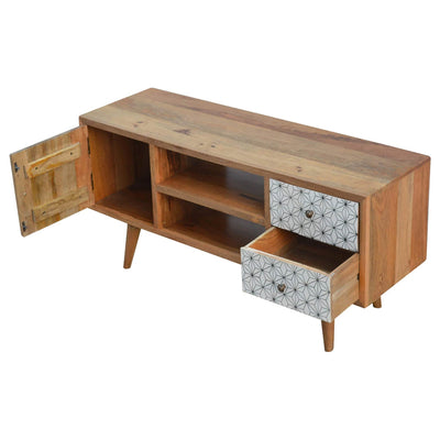 Artisan 2 Drawer Geometric Screen Printed Media TV Unit - drawers and cupboard open