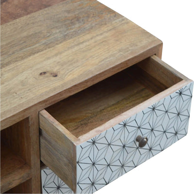 Artisan 2 Drawer Geometric Screen Printed Media TV Unit - close up of drawer