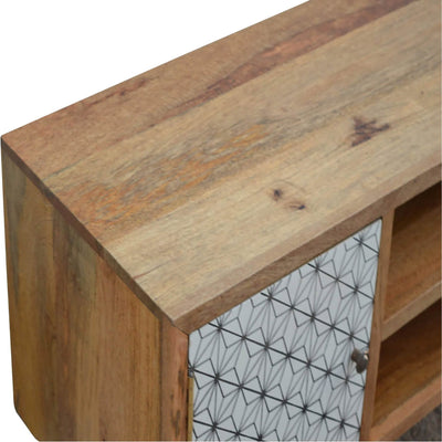 Artisan 2 Drawer Geometric Screen Printed Media TV Unit - top front view