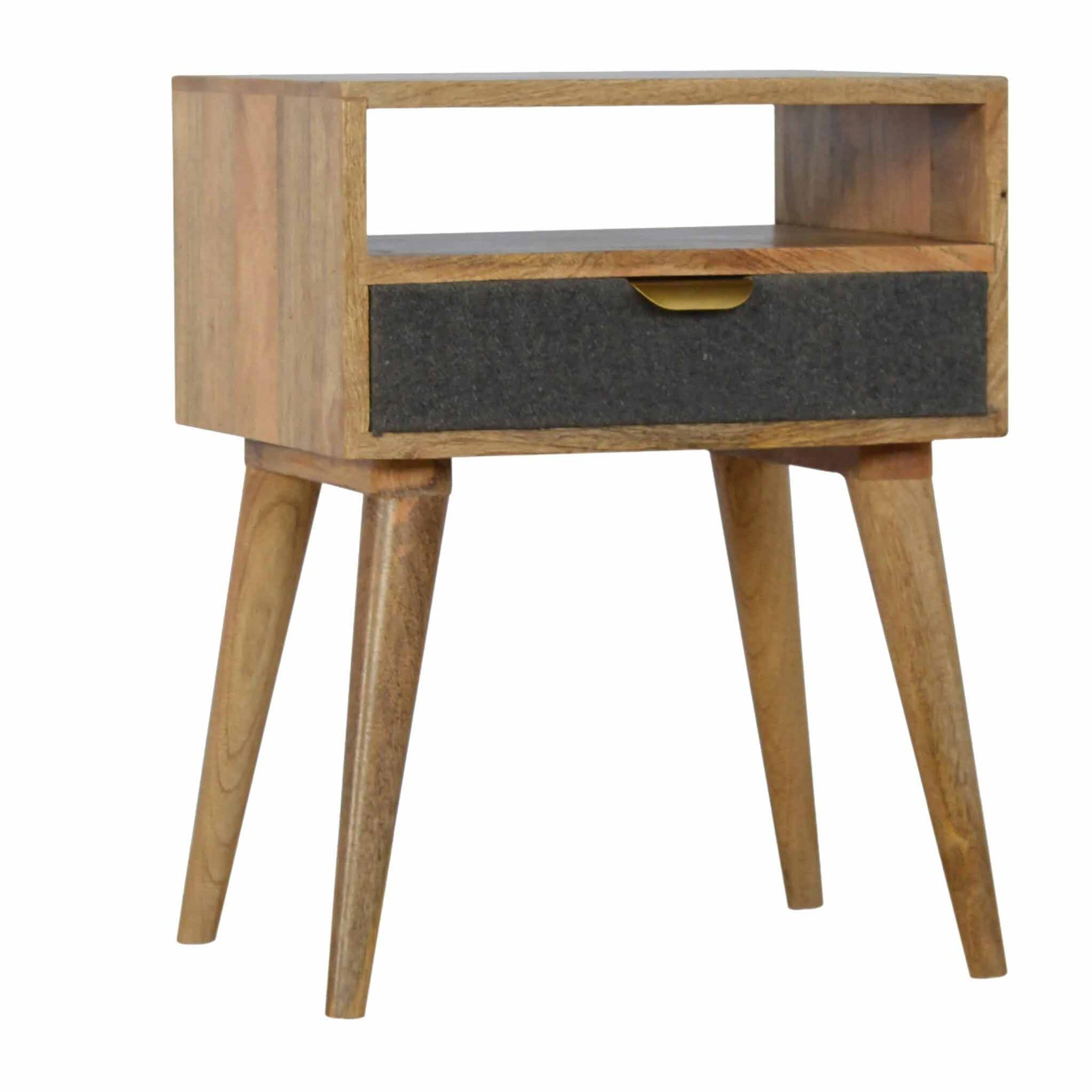 The Artisan Scandinavian Wooden Bedside Table with 1 Tweed Fabric Drawer from Roseland Furniture