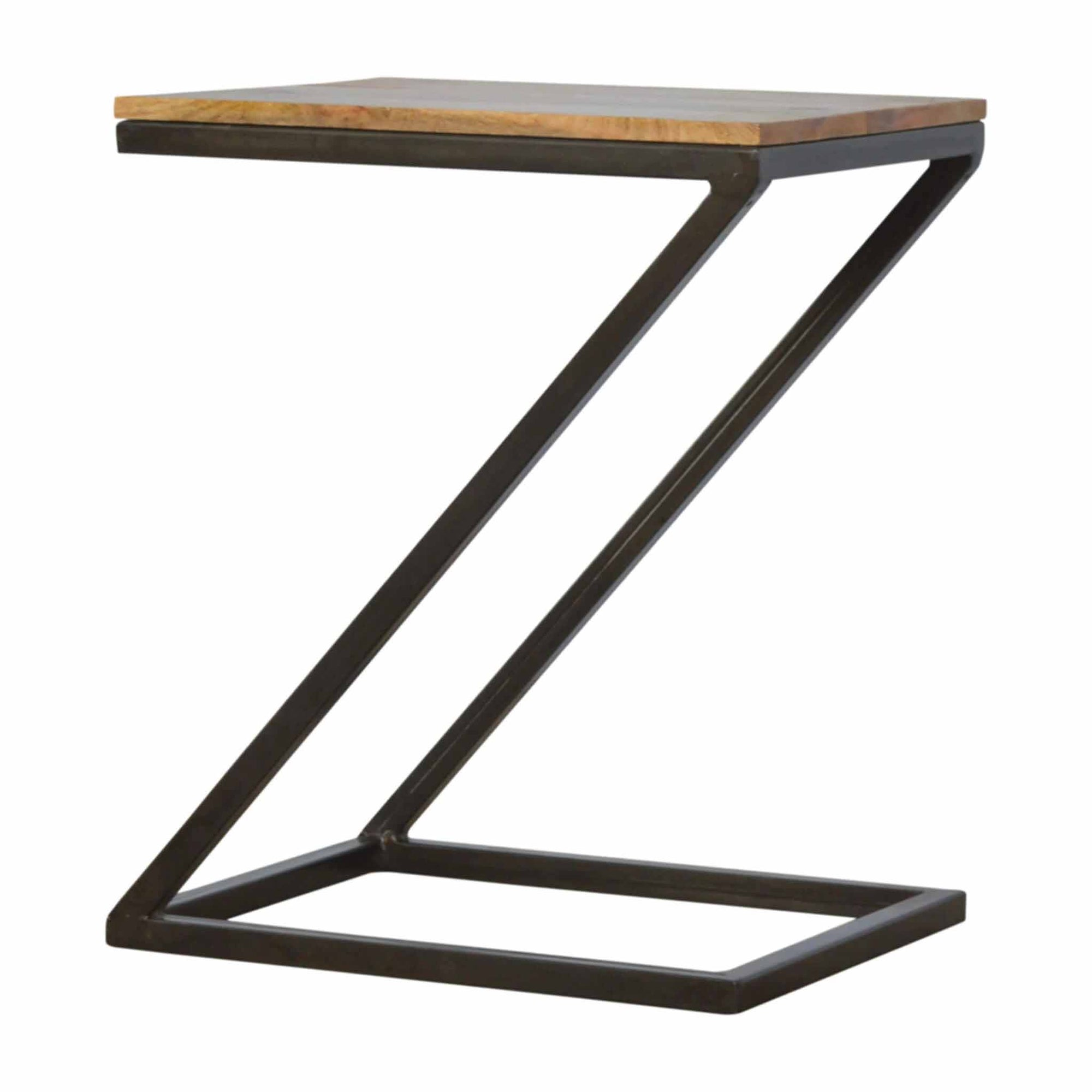 The Artisan Industrial Z shaped Side Table with Iron Frame from Roseland Furniture