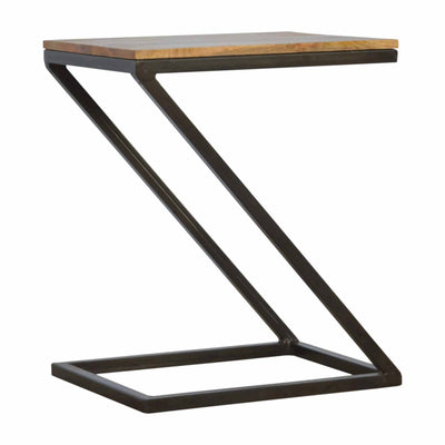 The Artisan Industrial Z Shaped Small Table with Metal Base
