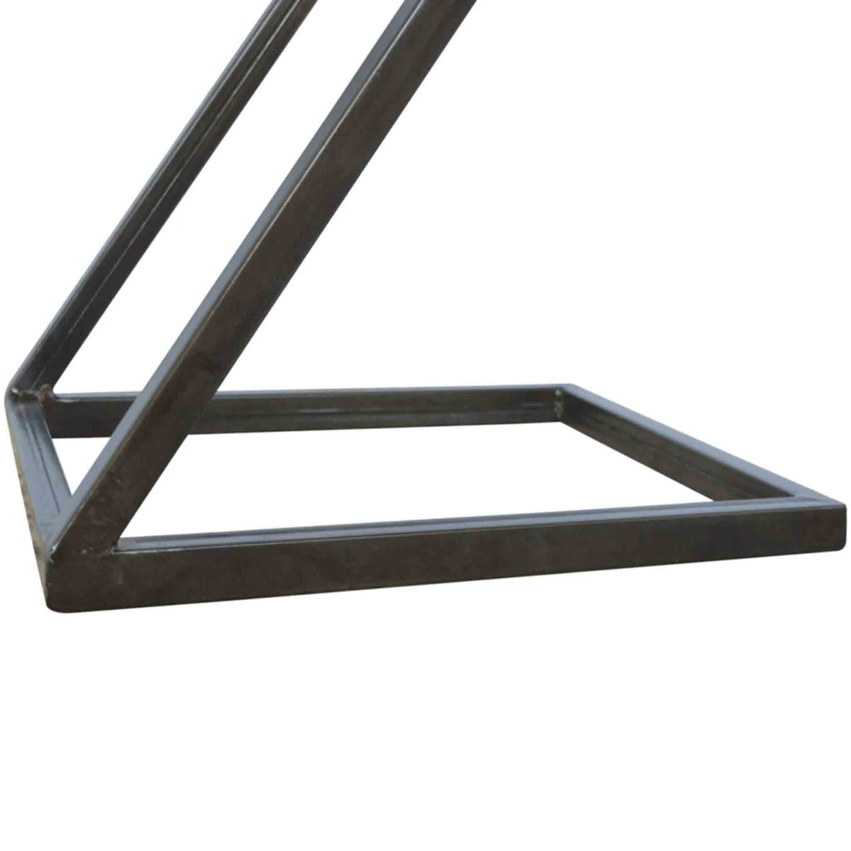 Close up of iron frame on The Artisan Industrial Z shaped Side Table