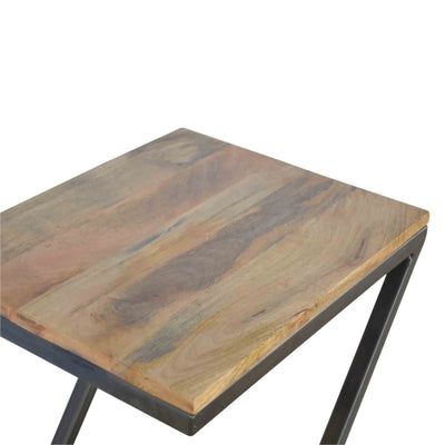 Top view of The Artisan Industrial Z shaped Side Table