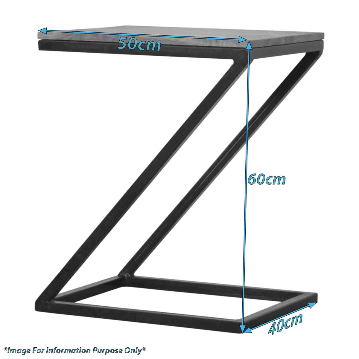 Dimensions for The Artisan Industrial Z shaped Side Table