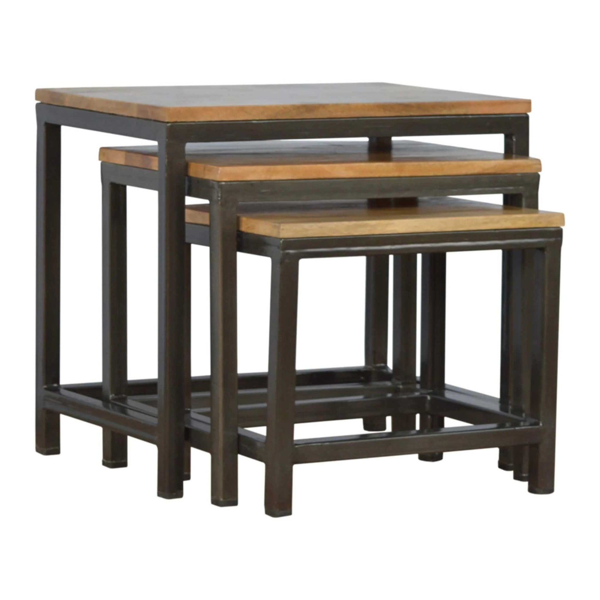 Artisan Nest of Tables with Iron Base by Roseland Furniture