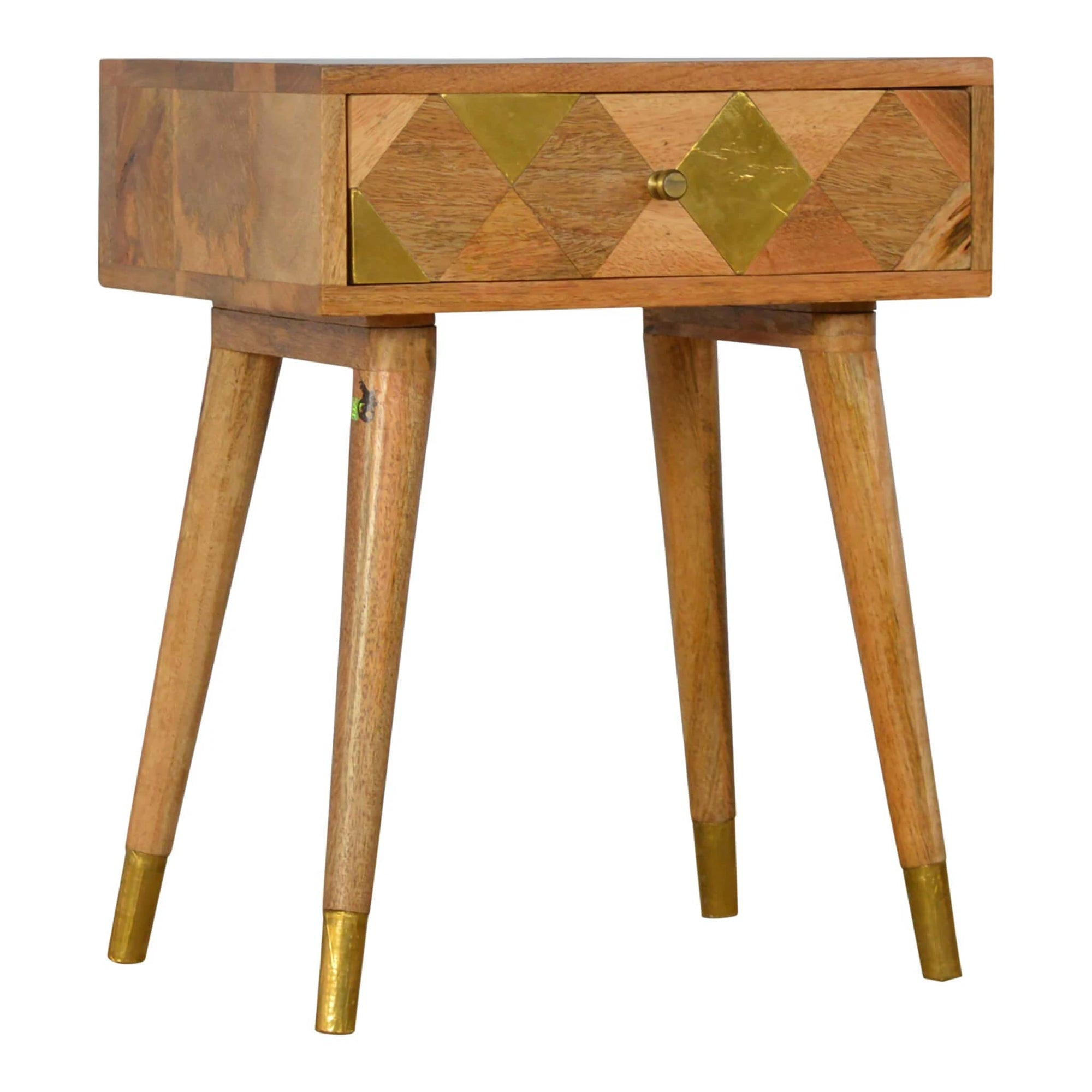 Artisan Retro Bedside Side Table with Brass Insert by Roseland Furniture