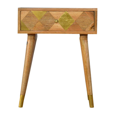 Artisan Retro Bedside Side Table with Brass Insert - front view
