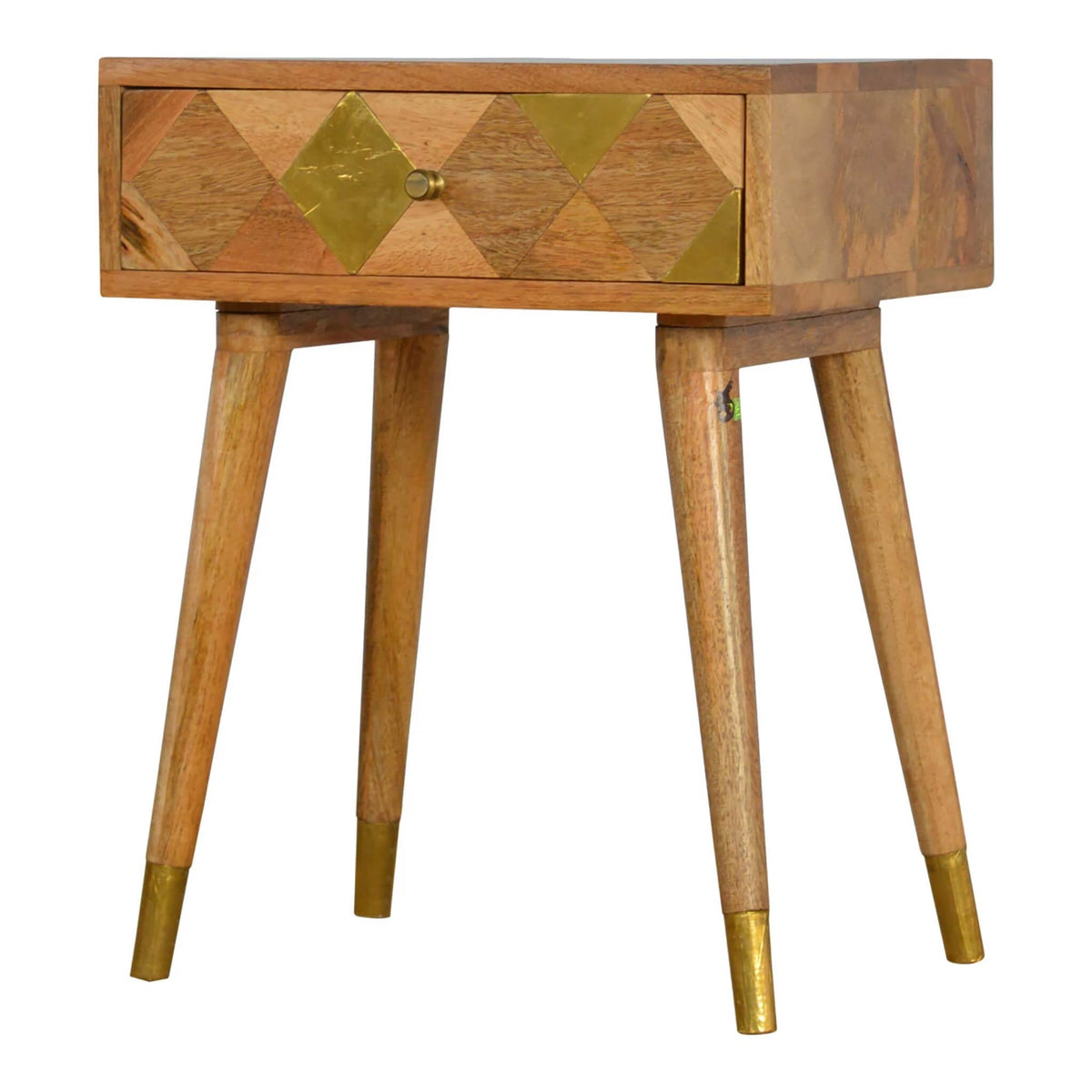Artisan Retro Bedside Side Table with Brass Insert - side view
