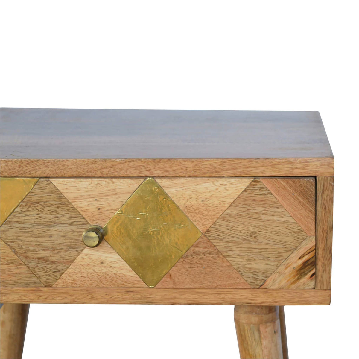 Artisan Retro Bedside Side Table with Brass Insert - drawer close up