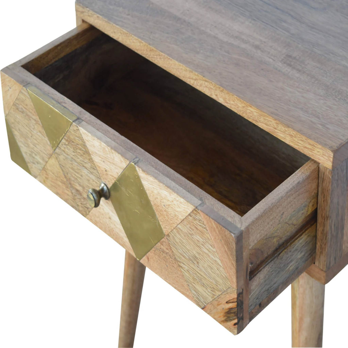Artisan Retro Bedside Side Table with Brass Insert - drawer open