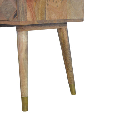 Artisan Retro Bedside Side Table with Brass Insert - leg view
