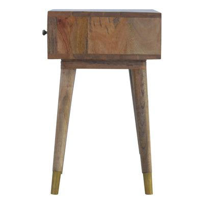 Artisan Retro Bedside Side Table with Brass Insert - side on view