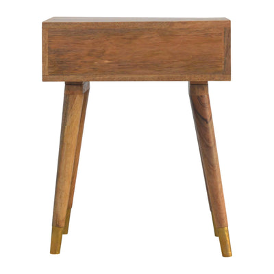 Artisan Retro Bedside Side Table with Brass Insert - back view