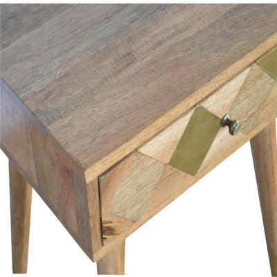 Artisan Retro Bedside Side Table with Brass Insert - inlay view