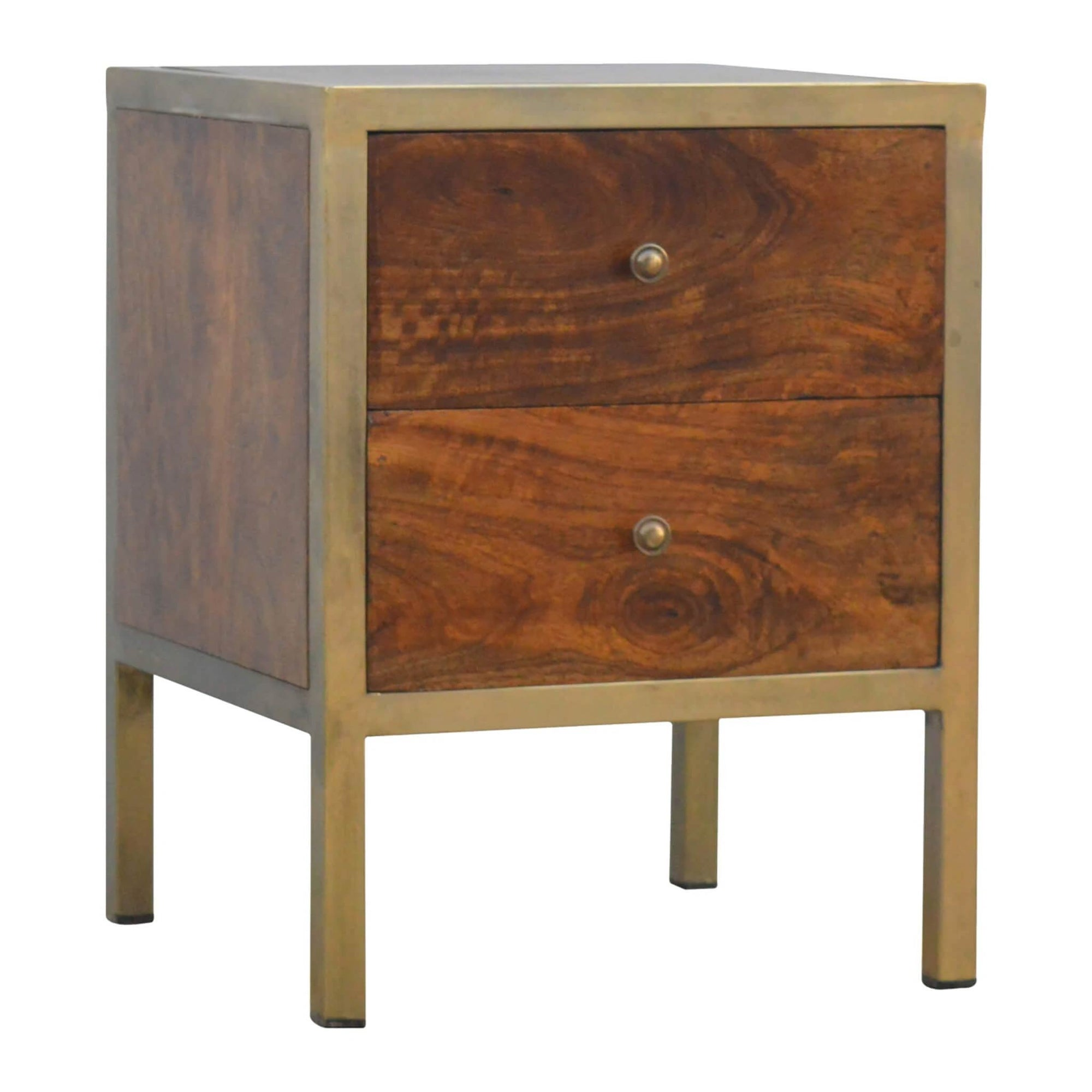 Artisan Iron Frame Bedside Side Table with Drawers by Roseland Furniture