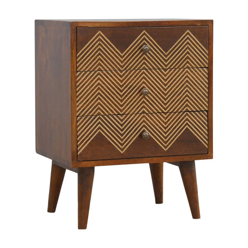Artisan 3 Drawer Bedside Table with Brass detailing - by Roseland furniture