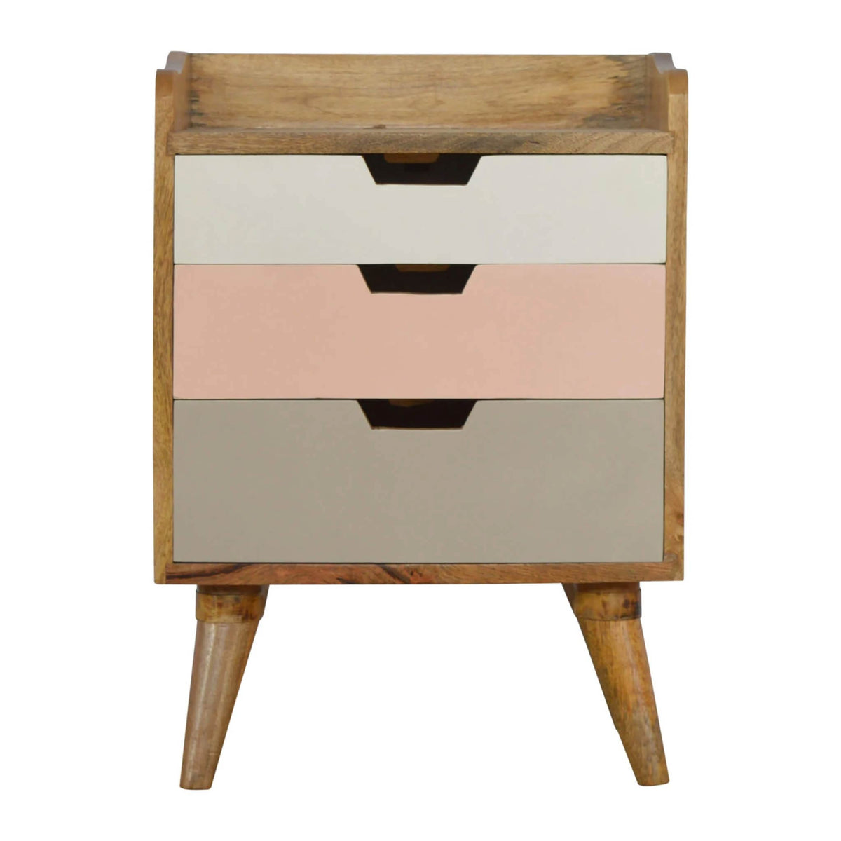 Artisan Bedside with Pink Painted Drawers - front view