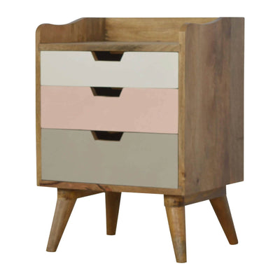 Artisan Bedside with Pink Painted Drawers - side view