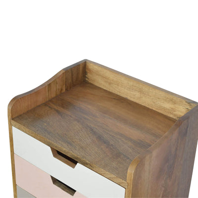 Artisan Bedside with Pink Painted Drawers - top view