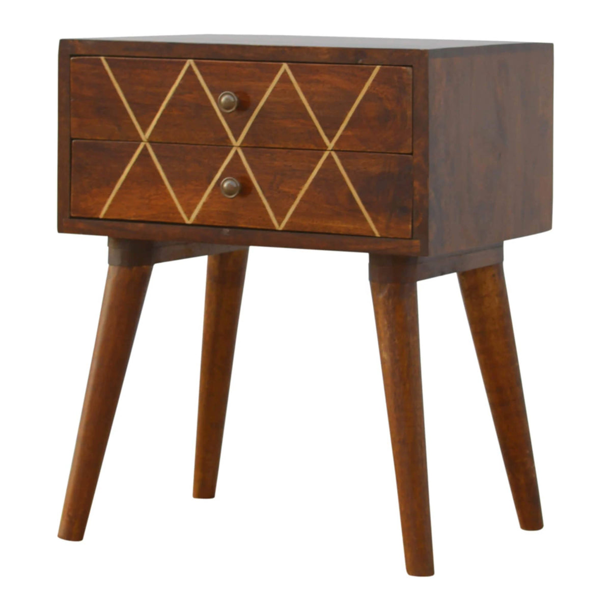 Artisan Drawer Bedside with Gold Wiring - side view