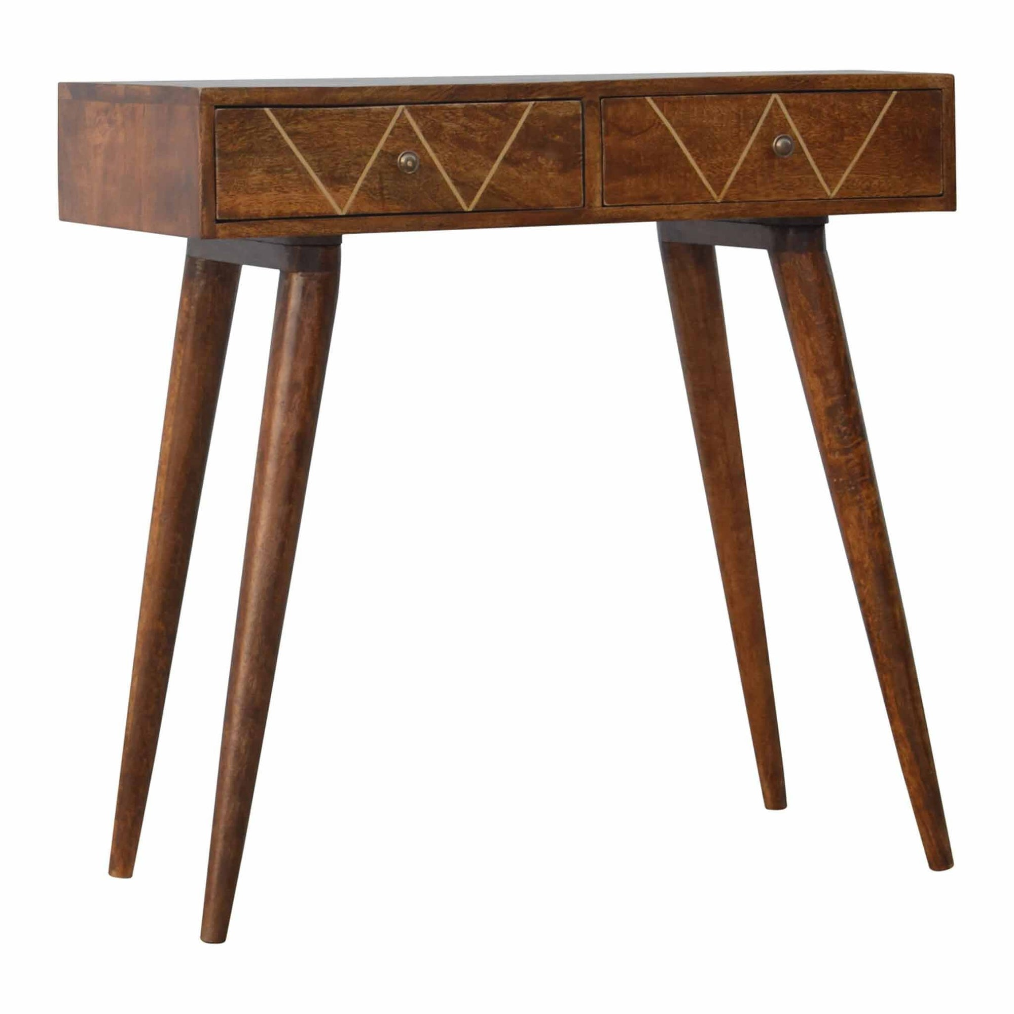 Artisan Brass Inlay 2 Drawer Console Table by Roseland Furniture