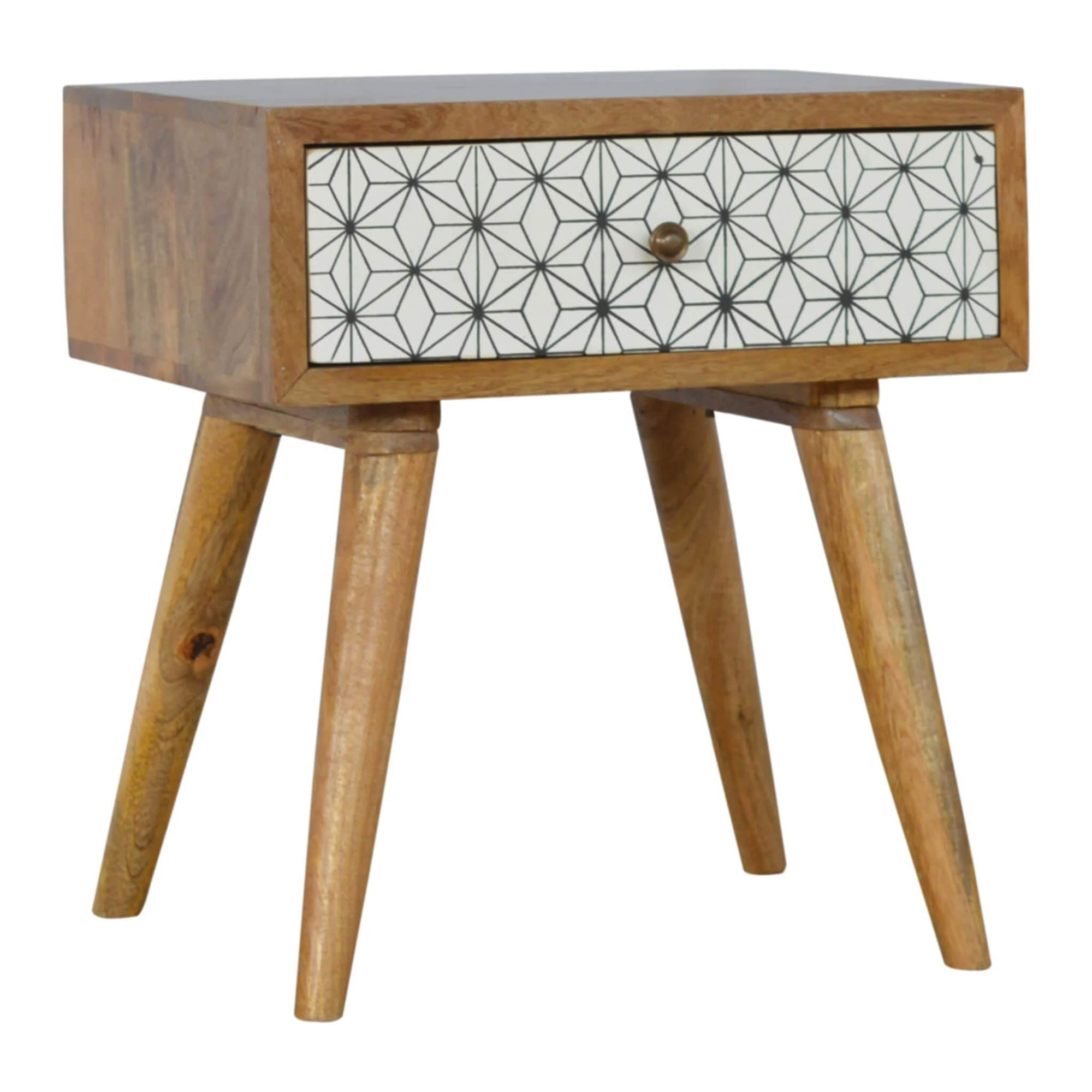 Artisan Retro Bedside Side Table With Drawer Detailing by Roseland Furniture