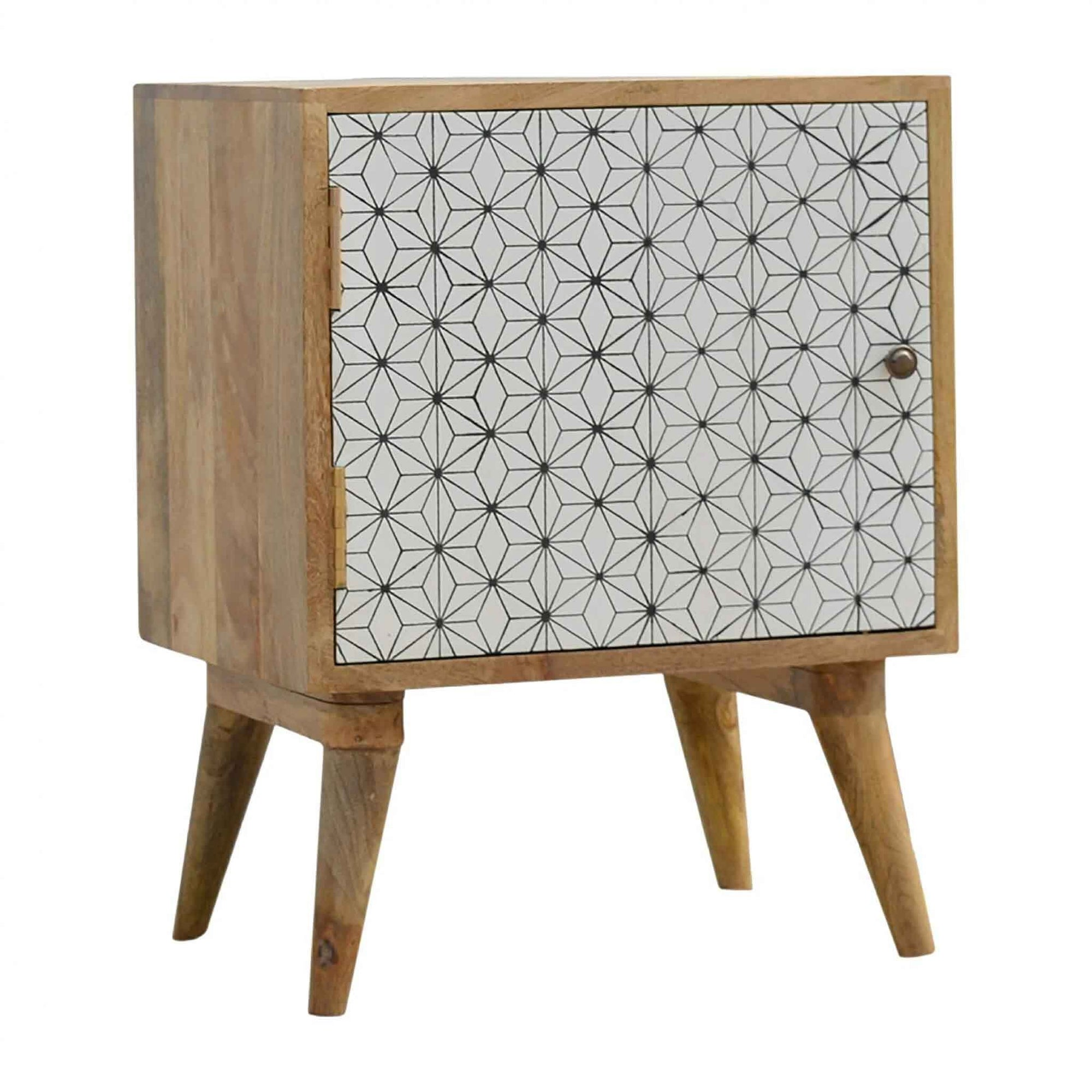 Artisan Geometric Screen-printed Door Bedside by Roseland Furniture