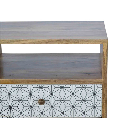 Top corner of Artisan 2 Drawer Geometric Screen-Printed Bedside with Open Slot
