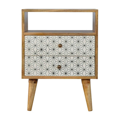 Artisan 2 Drawer Geometric Screen-Printed Bedside with Open Slot by Roseland Furniture