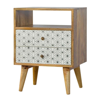 Artisan 2 Drawer Geometric Screen-Printed Bedside with Open Slot