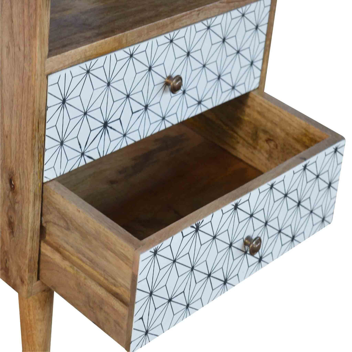 Drawers of Artisan 2 Drawer Geometric Screen-Printed Bedside with Open Slot