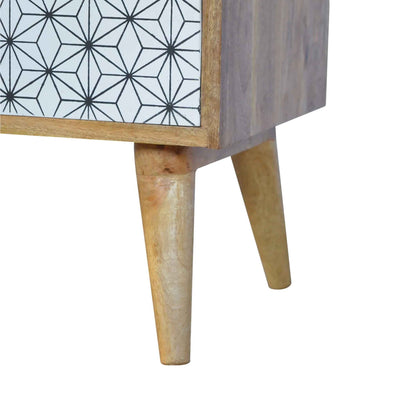 Foot of Artisan 2 Drawer Geometric Screen-Printed Bedside with Open Slot