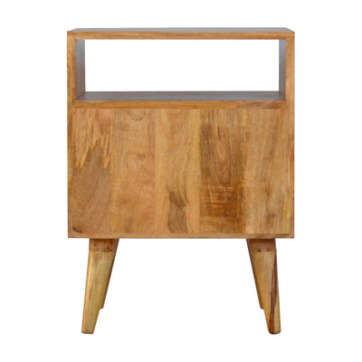 Rear of Artisan 2 Drawer Geometric Screen-Printed Bedside with Open Slot