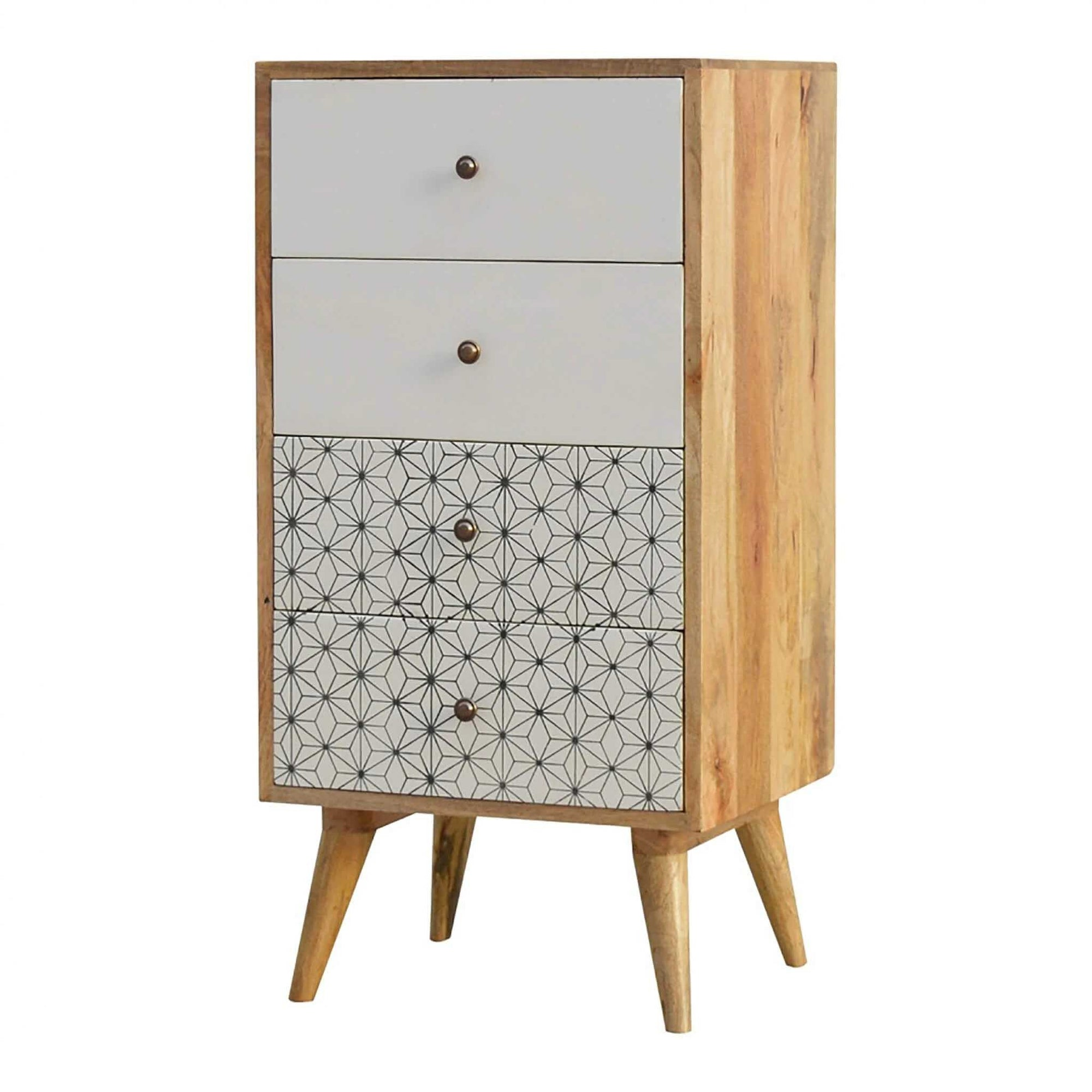 Artisan 4 Drawer Tallboy with 2 Geometric Screen Printed Drawer Fronts by Roseland Furniture