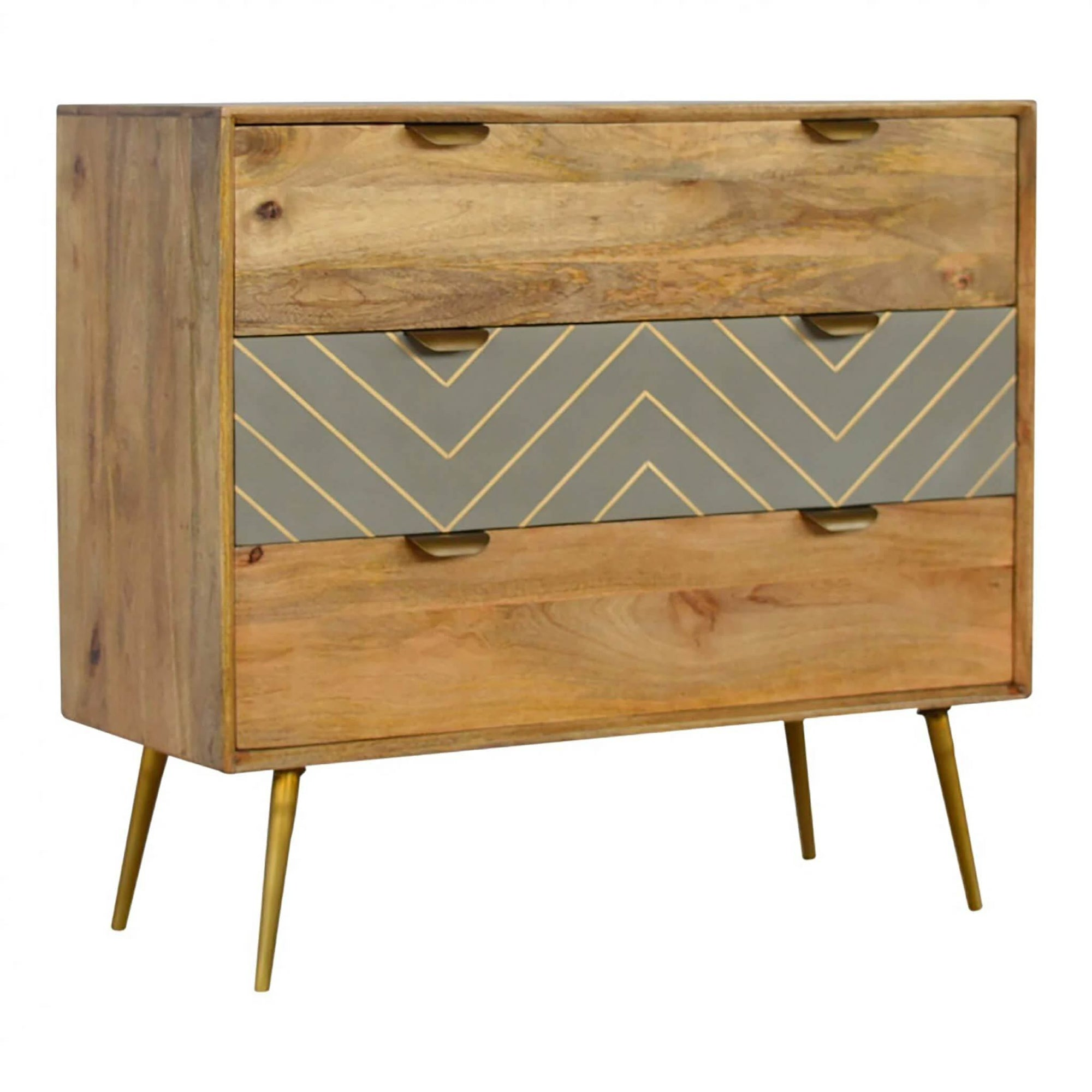 Artisan 3 Drawer Nordic Style Chest of Drawers with Brass Inlay by Roseland Furniture