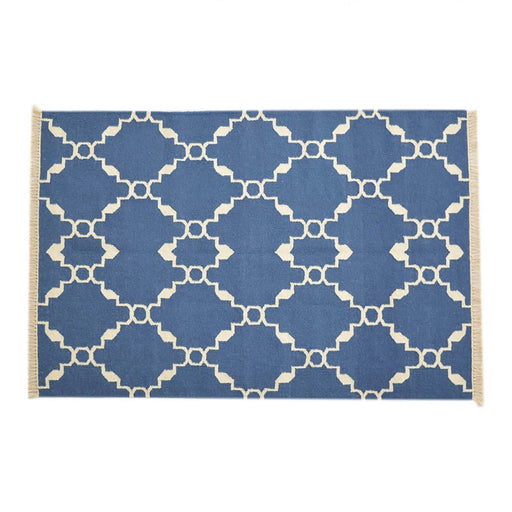 Artisan Blue Geometric Patterned Rug 187cm X 124cm by Roseland Furniture