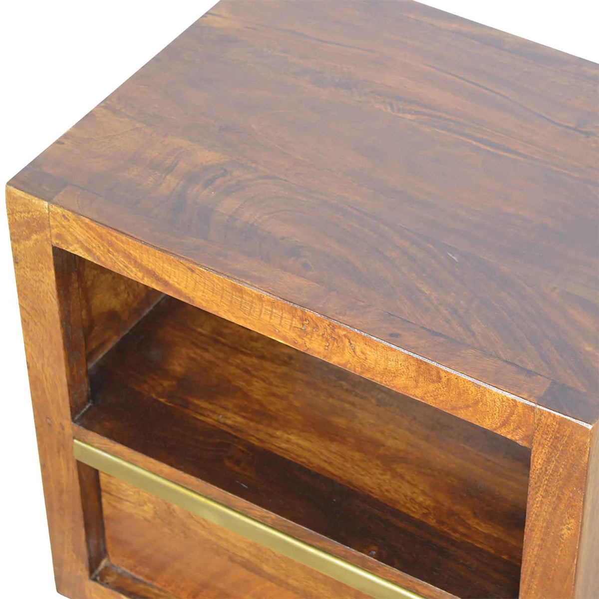 Top view of Artisan Drawer Chestnut Bedside Table with Drawer