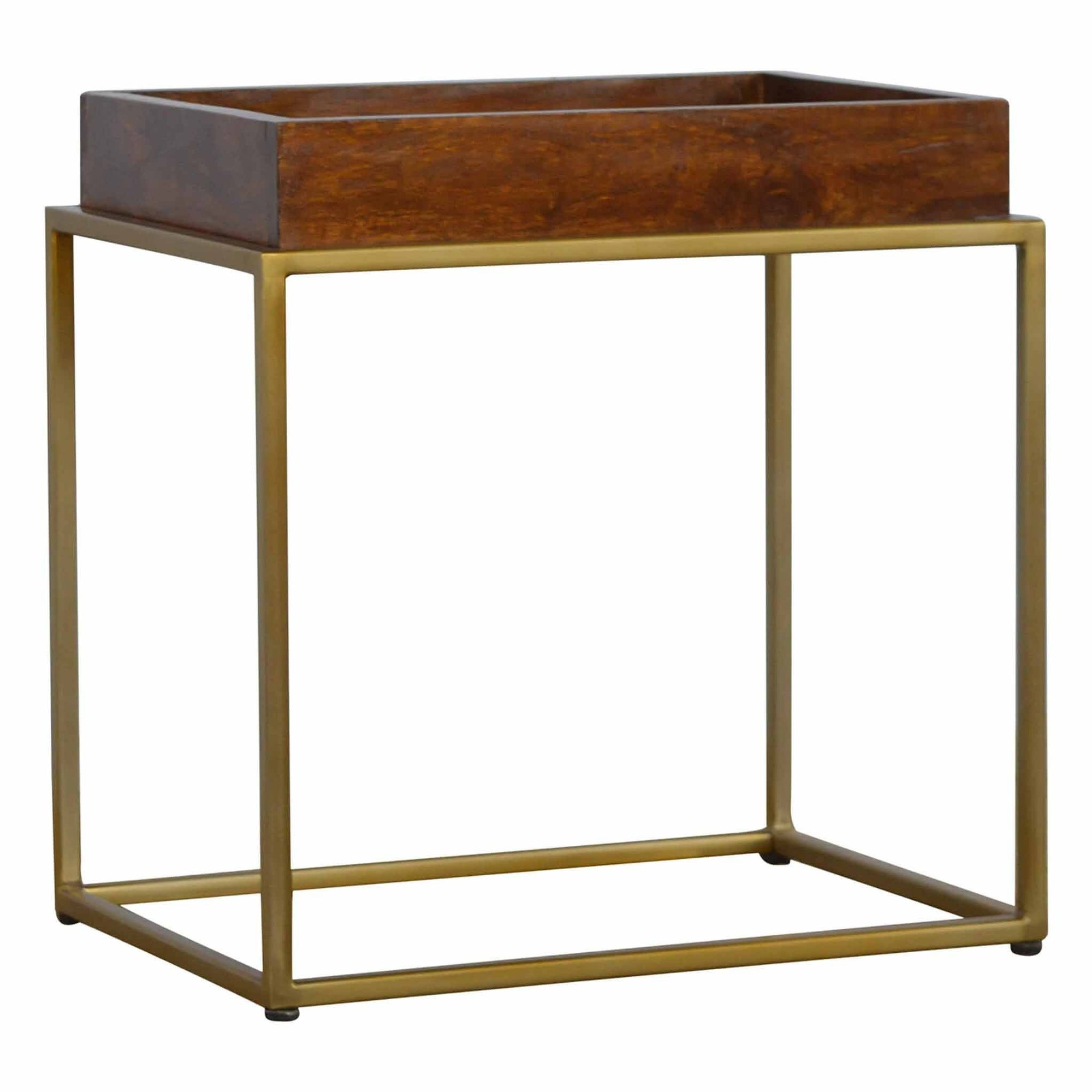Artisan Chestnut Butler Tray Table with Gold Base by Roseland Furniture