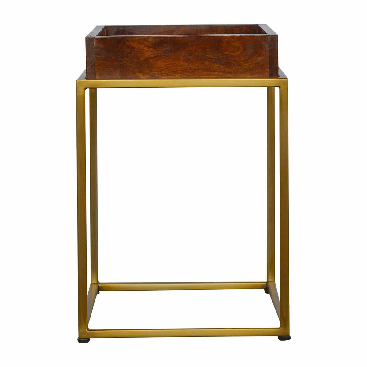 Side view of Artisan Chestnut Butler Tray Table with Gold Base